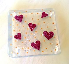 Little copper love hearts fused glass coaster red gold wedding Christmas £5.95