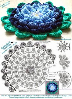 Flower patterns in crochet ll, Crochet Flower Tutorial, Crochet Flower Patterns, Crochet Mandala, Doily Patterns, Crochet Motif, Crochet Flowers, Crochet Home, Love Crochet, Irish Crochet