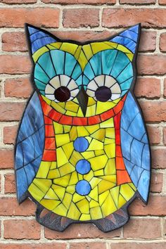 Learn the art of Stained Glass Mosaics! Sign up for the Online Class via www.kasiamosaicsclasses.com  Student Work from a Kasia Mosaics Stained Glass Mosaic Owl Workshop - Owl Mosaic by Nancy.