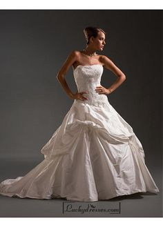 Beautiful Elegant Exquisite Taffeta Wedding Dress In Great Handwork Sale On LuckyDresses.com With Top Quality And Discount
