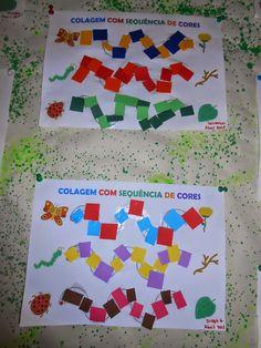 Com os dedos... A cola... Escolher as cores e seguir a sequência...