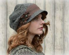 Woodland Lace Hat Slouchy Visor Beanie Newsboy Cap