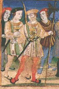 c1520. Servants or bodyguards of King Henry VIII wearing the Tudor livery of green and white.