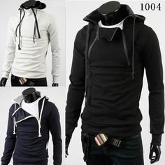 pullover men black fashion hoodie KOREAN STYLISH Winter Hoody For Men Double Zipper Men's  Hoody Jacket black white M L XL XL $47.96