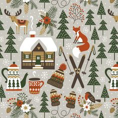 cozy chalet - small fabric by mirabelleprint on Spoonflower - custom fabric
