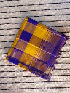 Yellow violet checks kanchi Silk Cotton Saree with violet Pallu & Zari Border Silk Cotton Sarees, Bright Pink, Yellow, Color, Colour, Colors