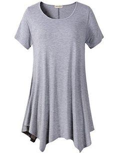 Women's Comfy Flattering T-Shirt Swing Tunic Tops Loose Fit