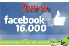 Thalitha van der Merwe from Potch was like number 16000 on this page and she gets a complimentary single ticket to any of our destinations. Thank you to everyone that engages us on FB. Much appreciated. - Limetime Blog