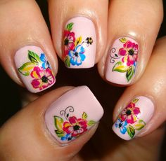 Wendy's Delights: Sparkly Nails Bright Bouquet Water Decals @Slim Blondie-Nails.co.uk