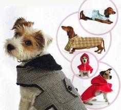 XS Small Medium Large Dog Wool Plaid Tweed Brocade Herringbone and Fleece Warm Dog Coat or Red Riding Hood Cape Sewing Pattern by TheOldLeaf, $6.49 #DogCoats #TheOldLeaf