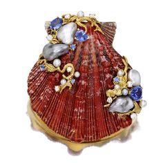 A cultured pearl, sapphire, diamond and shell clip/brooch, Trianon