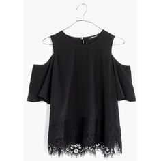 MADEWELL Lace-Edged Silk Cold-Shoulder Top ($110) ❤ liked on Polyvore featuring tops, true black, cut-out shoulder tops, silk top, madewell, lacy tops and cut out shoulder top