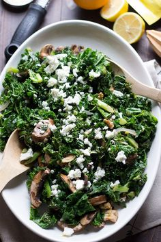 This wilted kale salad is packed with goodness, between the baby bella mushrooms, the toasted walnuts and the fresh citrus vinaigrette!  Each bite is a powerful mouthful! www.lemonsforlulu.com #SplendaSweeties #SweetSwaps