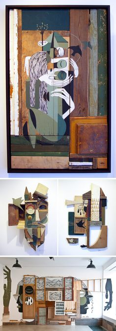 Artist Duo 'Expanded Eye' Explore Human Consciousness Through Painted Repurposed Wood Assemblages