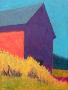 Red barn with gold grass