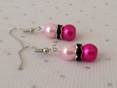 Pink and Black Pearl Rhinestone Earrings by CherishedJewelryCo