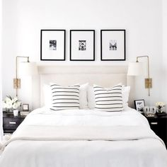 A short break from Christmas themed posts to design crush on this all white bedroom by proving that white is anything but boring! - Architecture and Home Decor - Bedroom - Bathroom - Kitchen And Living Room Interior Design Decorating Ideas - Cozy Bedroom, Bedroom Inspo, Dream Bedroom, Home Decor Bedroom, Bedroom Sconces, Bedroom Frames, White Bedroom Decor, Artwork For Bedroom, Artwork Above Bed