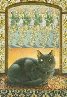 Postcard Wish List - Cats in Art - Lesley Anne Ivory