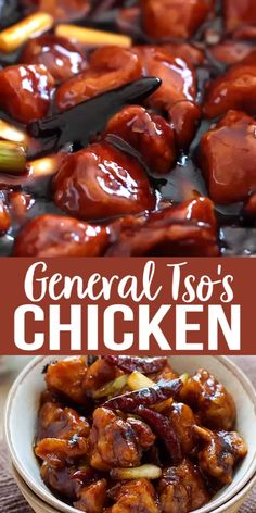 GENERAL TSO'S CHICKEN General Tso's Chicken - Deep-fried chicken in a sweet, savory and spicy General Tso's sauce. This recipe tastes like the best Chinese restaurants. Homemade Chinese Food, Chinese Chicken Recipes, Easy Chinese Recipes, Easy Chicken Recipes, Chinese Food Dishes, Healthy Chinese Food, Chinese Chicken Stir Fry, Authentic Chinese Recipes, Chinese Desserts