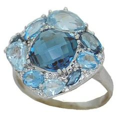 Blue Topaz Ring with 0.06 cttw. Diamonds https://www.goldinart.com/shop/colored-gemstone-rings/blue-topaz-ring-with-0-06-cttw-diamonds #14KaratWhiteGold, #BlueTopazRing