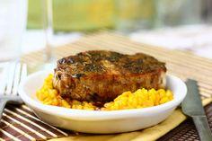 Pumpkin Risotto with Balsamic Honey-Glazed Pork Chops