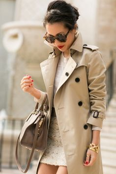 So classy. Mid-buns, cat eye sunnies, and trenches. #glossi #spring #fashion