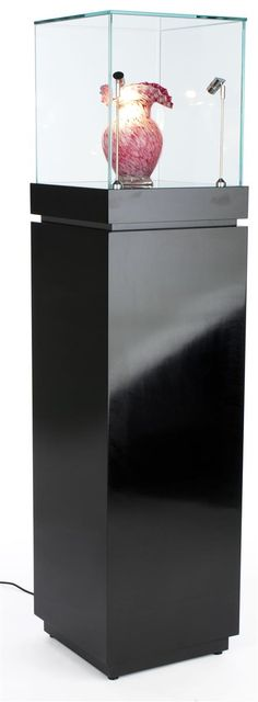 "16"" Pedestal Display Case w/Cabinet Base, Locking Drawer, LED Spotlights, Gloss Black"