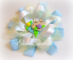 Handmade bow with polymer clay button by www.elisaezucchina.blogspot.it
