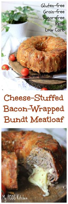 My PCOS Kitchen - Cheese-Stuffed Bacon-Wrapped Meatloaf - This is the PERFECT Keto dinner that comes out soo juicy and cheesy! My PCOS Kitchen - Cheese-Stuffed Bacon-Wrapped Meatloaf - This is the PERFECT Keto dinner that comes out soo juicy and cheesy! Healthy Gluten Free Recipes, Bacon Recipes, Ketogenic Recipes, Low Carb Recipes, Ketogenic Diet, Keto Foods, Meatloaf Recipes, Steak Recipes, Healthy Food