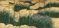 Musashino Plain (Autumn View of Countryside). Edo period. One of a pair of six-fold Japanese screens. Artist Unknown. TOKYO FUJI ART MUSEUM