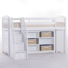 The White School House Storage Junior Loft with Stairs is the perfect piece of furniture for your child's room!