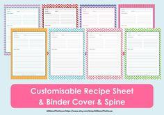 Printable Recipe Sheet Template - Recipe Card - Recipe Binder - Recipe Organisation - Recipe Book