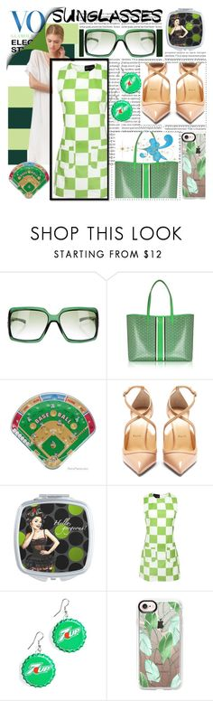 """Vintage Love: Retro Sunglasses"" by ladygroovenyc ❤ liked on Polyvore featuring Oris, Gucci, Tory Burch, Retrò, Christian Louboutin, Hollywood Mirror, Casetify and vintage"