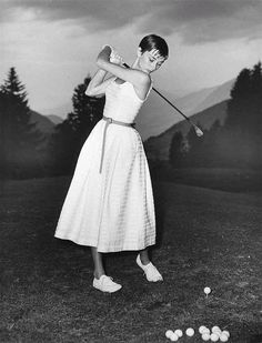 Rare Audrey Hepburn — Audrey Hepburn golfing at a golf course in...