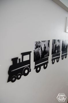 train of photos of the birthday boy! perfect party decoration for a modern train themed second birthday party- simple to cut using the cricut #birthdayparty #trainparty #cricutmade