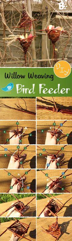 Easy Bird Feeder DIY Tutorial. Willow Weaving Craft. // Futterstelle für Vögel aus Weidenzweigen.: