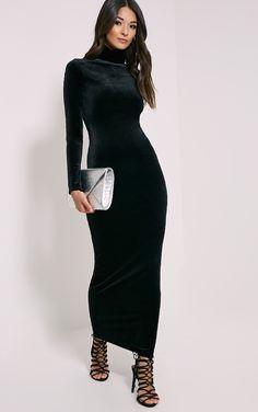 Cindy Black Turtle Neck Velvet Maxi Dress #Gotham #PLTSTYLE
