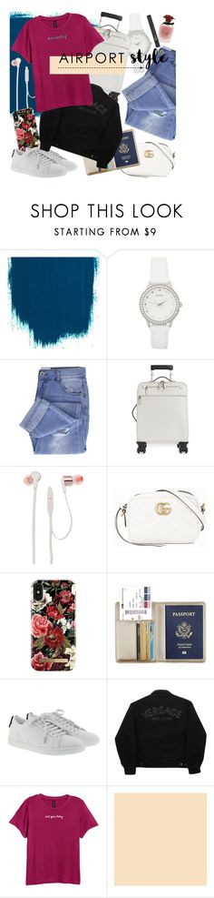 """""""let's go"""" by heremyworld ❤ liked on Polyvore featuring GUESS, Taya, Serapian, JBL, Gucci, iDeal of Sweden, Yves Saint Laurent, Versace Jeans Couture, Dolce&Gabbana and Christian Dior"""
