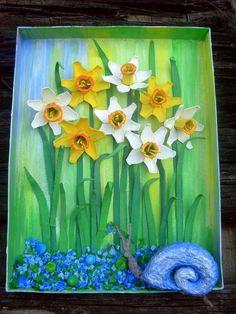 flor feita com caixa de ovo,narciso para decorar