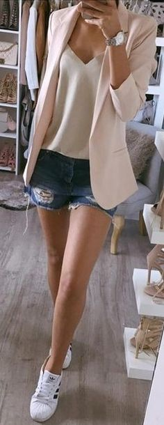 #summer #prefall #outfits |  Pastel Pink Blazer + White Top + Shorts