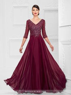 mon cheri bridals 116950 - Diamond chiffon A-line gown with hand-beaded three-quarter length sleeves, front and back V-necklines, bodice encrusted with beading, flyaway skirt with sweep train. NEW Color: Wine.: