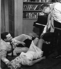 "Tom Ewell &  Marilyn Monroe being directed by Billy Wilder in ""The Seven Year Itch"" 1955"