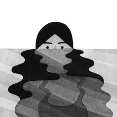 Illustration for Bitch magazine's 67th issue, accompanying Meisha Rosenberg's article 'Making Waves: The Slow Crawl Toward Making Swimming More Inclusive' | Eleni Kalokorti