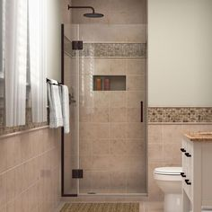 DreamLine Unidoor-X H x to W Frameless Hinged Oil Rubbed Bronze Shower Door (Clear Glass) at Lowe's. The DreamLine Unidoor-X is a frameless shower door, tub door or enclosure that features a luxurious modern design, complementing the architectural Frameless Shower Enclosures, Frameless Shower Doors, Walk In Shower Designs, Small Bathroom, Bathroom Ideas, Shower Ideas, Bathroom Designs, Bathroom Organization, Bathroom Renovations