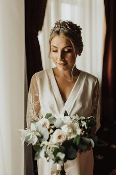 Bridal robe with lace sleeves, wedding robe, short lace sleeves, ivory dressing gown, brides lace ro Bride Lingerie, Wedding Lingerie, Bridal Boudoir Photography, Friend Photography, Maternity Photography, Couple Photography, Photography Poses, Lace Bridal Robe, Wedding Garter