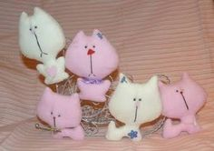 DIY Pink And White Fabric Cats
