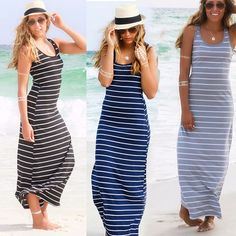 Buy Women Summer Sexy Long Maxi Party Long Sleeve Dress Seaside Beach Dress Sundress in Women's Dresses on AliExpress Striped Maxi Dresses, Beach Dresses, Casual Dresses, Summer Dresses, Dress Beach, Stripes Fashion, Maxis, Tank Dress, Sewing Tutorials