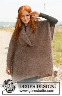 """Nomad - Knitted DROPS poncho in stockinette st in """"Vienna"""". Size: S to XXXL. - Free pattern by DROPS Design"""