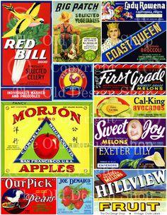 Vintage Fruit Vegetable Food Crate Labels by TheOldDesignShop, $3.00