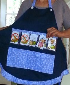 Kinder-Gardening  Walking Pocket Chart apron. 5 Little Monkeys Jumping On the Bed cards